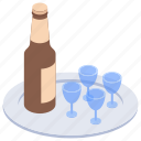alcohol, alcoholic beverage, alcoholic drinks, beer bottles, wine, wine bottles icon