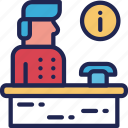 bellboy, hotel, information, man, reception, service icon
