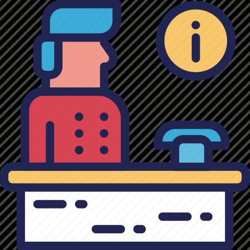 bellboy, hotel, information, man, reception, service icon