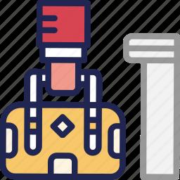 bag, bellboy, hand, hotel, service, suitcase icon