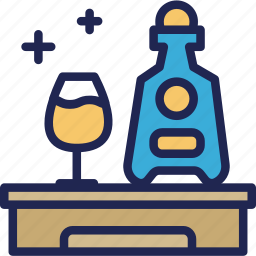 bottle, drink, hotel, minibar, service, wellcome icon