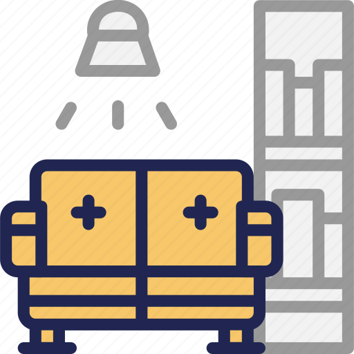 guestrooms, living, rest, room, service, sofa icon