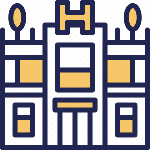 building, daily, hotel, room, service, travel icon