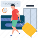 gadgets traveler, hotel check in, male tourist, male traveler, tourist, traveling icon