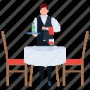 attendant, food serving, hot food, server, serving food, waiter icon