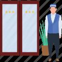 hotel employ, hotel servet, hotel service, hotel waiter, male servant icon