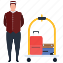 hotel services, human work, luggage carrier, porter, porter services icon
