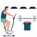 fitness, gym, exercise, gyming, hotel gym, typer machine, dumbbells icon