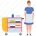 hospitality service, hotel housekeeper, hotel housekeeping, housekeeping, room service icon