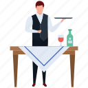 avatar, hotel employ, hotel server, restaurant server, servent, waiter icon