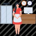 customer service, hotel reception, front desk, hospitality, reception icon