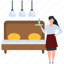 attendant, female waiter, food serving, hot food, server icon