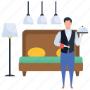 attendant, food serving, hot food, server, waiter icon