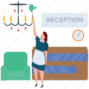 cleaner, cleaning, female maid, hotel service, reception cleaning icon