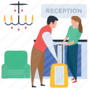check in, hotel arrival, tourist, traveller, woman with luggage icon