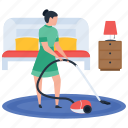 cleaner, cleaning, female maid, hotel service, vacuum cleaning icon