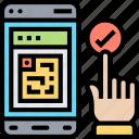 mobile, checkin, code, scanning, passenger icon