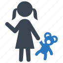 babysitting, child, little girl, playing, toy icon