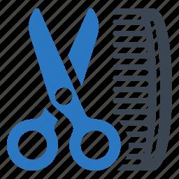 barber, beauty salon, comb, hair salon, scissors icon