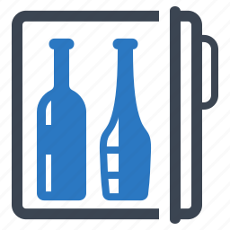 alcohol, bottles, refrigerator, wine icon