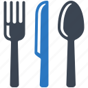 cutlery, dinner, food, fork, knife, lunch, restaurant, spoon icon