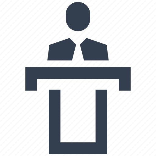 business, centre, conference, hall, man, people, speach, stage, talk icon