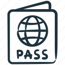 id, identity, pass, passport, travel, visa icon