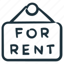 for rent, real estate, rent, rental, sign icon
