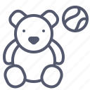 ball, bear, kids, play, toy icon