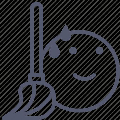 broom, brush, clean, sweat, tool icon