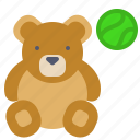 ball, bear, kids, play, toy