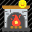 fire, fireplace, heat, holidays icon