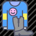 blouse, boots, clothes, shop, smile, store icon
