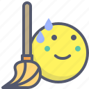 broom, brush, clean, sweat, tool icon
