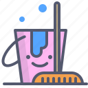 broom, bucket, clean, tool, water icon