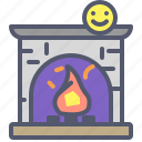 fire, fireplace, heat, holidays icon