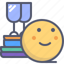 books, glasses, library, relax, wine icon