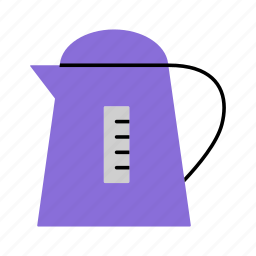 boiling water, electrical, hot, hot water, household, kettle, kitchen icon