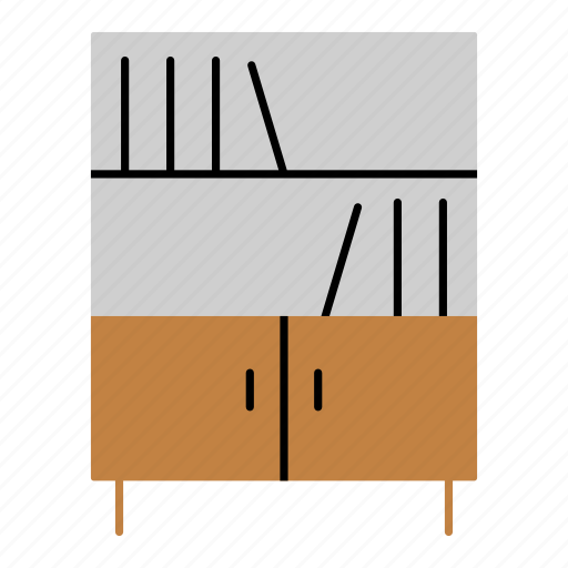 Books, bookshelf, cupboard, furniture, household, library icon - Download on Iconfinder