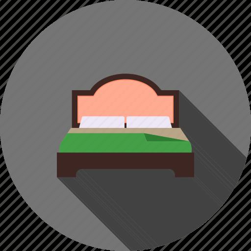 bed, bedding, bedroom, furniture, mattress, pillows, sleep icon