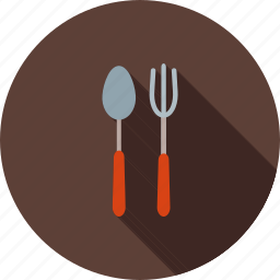 cutlery, food, fork, metal, restaurant, silver, spoon icon