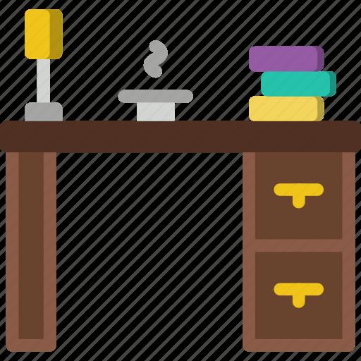 belongings, desk, furniture, households, work icon