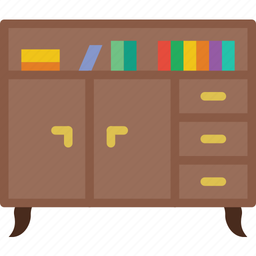 belongings, bookshelf, furniture, households icon