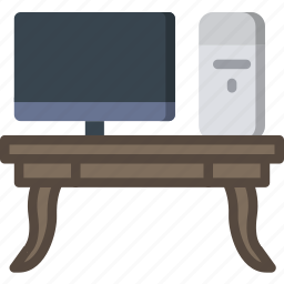 belongings, furniture, households, workdesk icon