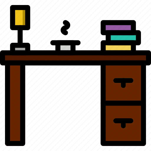 belongings, desk, furniture, households, work icon