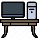 belongings, furniture, households, workdesk icon