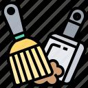 broom, brush, dustpan, floor, sweeping