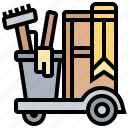 cart, cleaning, equipment, supplies, housemaid icon
