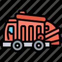 dumpster, truck, waste, disposal, garbage icon