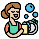 chores, cleaning, dishes, kitchen, washing icon